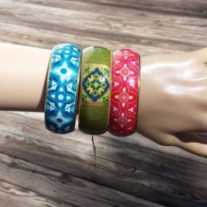 Lot of 3 Brass Wide Colorful Bangle Bracelets